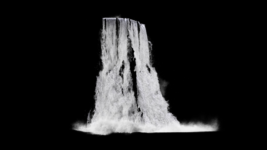 waterfall texture seamless loop, 4k, isolated on black with alpha, foam and mist, looped #1036938503