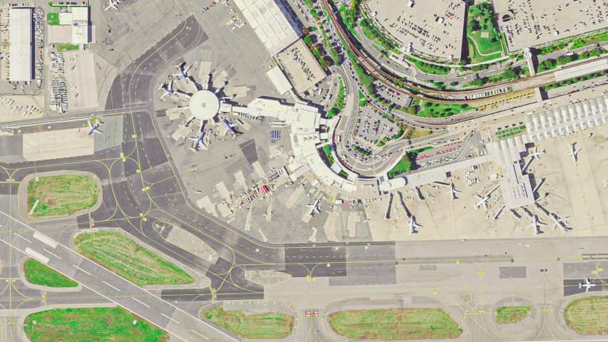 Aerial view of Washington Airport with the aircraft, the terminal building and runway. | Shutterstock HD Video #1037048663