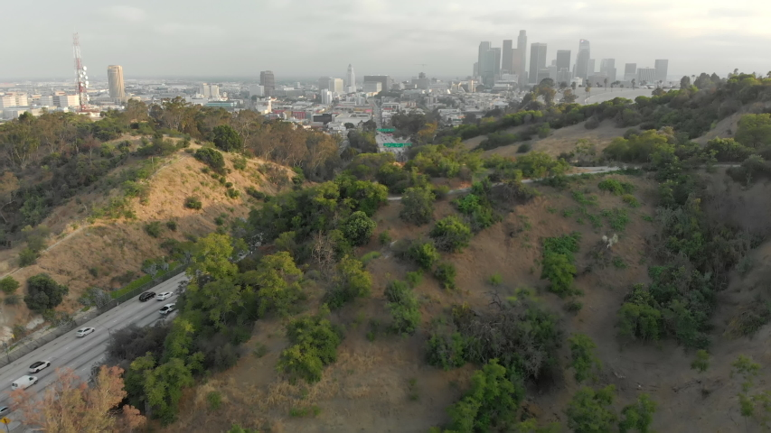 Aerial of Downtown LA from Elysian Park Over Highway | Shutterstock HD Video #1037122613