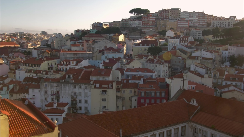 Lisbon Cityscape Sunrise Time Lapse Light over Traditional Architecture Portugal | Shutterstock HD Video #1037170133