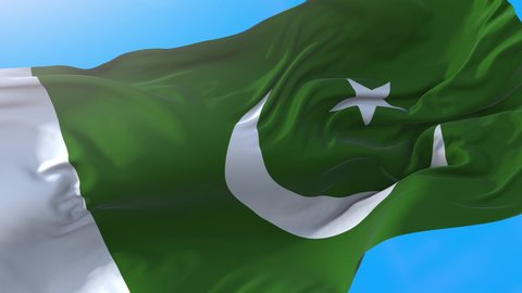 Pakistan flag video waving in wind 4K. Realistic Pakistani background. Pakistan background looping 3840x2160 px.