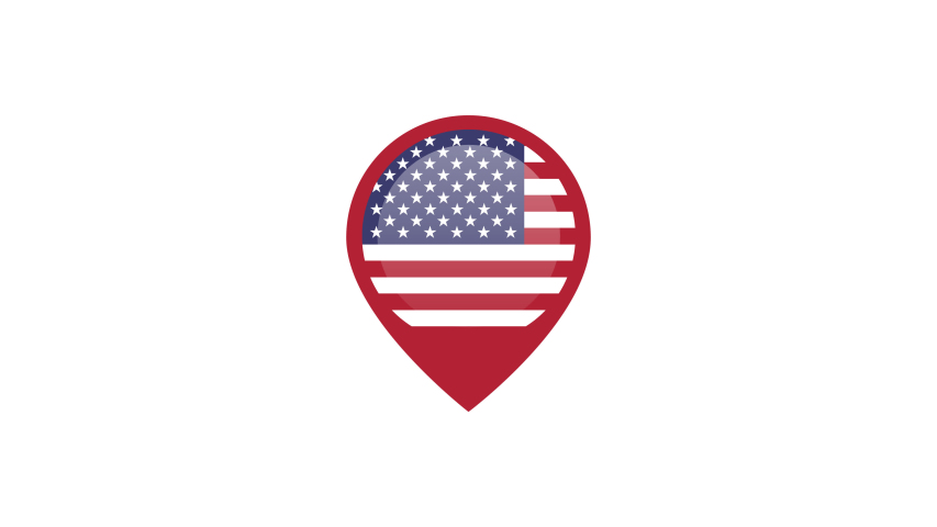 USA map point icon motion animation isolated on transparent background.motion graphic come in on scene and come out animation.flat design animation.Alpha Channel Included.pop up effect. | Shutterstock HD Video #1037186573