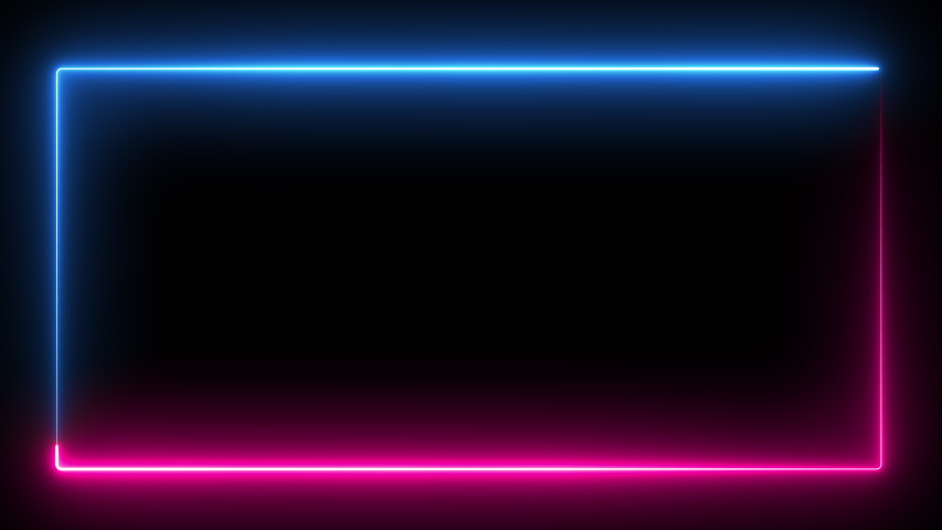 Computer generated color animation. 3D rendering neon frame of blue and pink colors on a black background | Shutterstock HD Video #1037222753