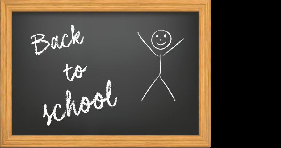 """Animation of the writing """"Back to school"""" in chalk on a black chalkboard with stylized kid appearing on transparent background with alpha channel 