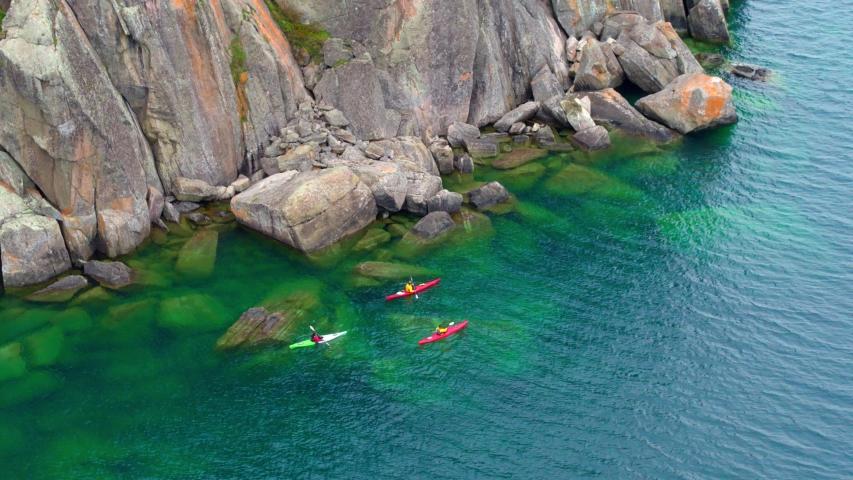 Kayaking at Split Rock, Minnesota, Aerial Drone | Shutterstock HD Video #1037304443
