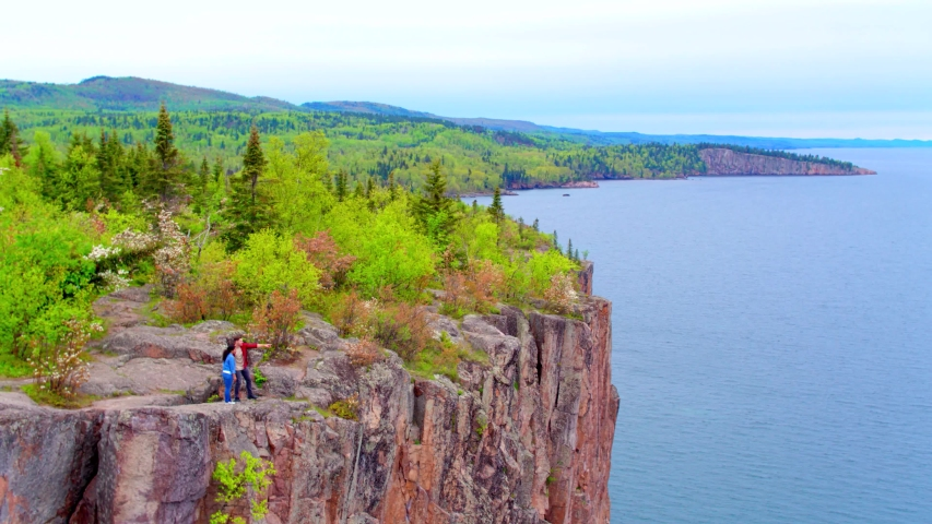 Aerial Drone, Couple at Split Rock Lighthouse State Park Minnesota | Shutterstock HD Video #1037304743