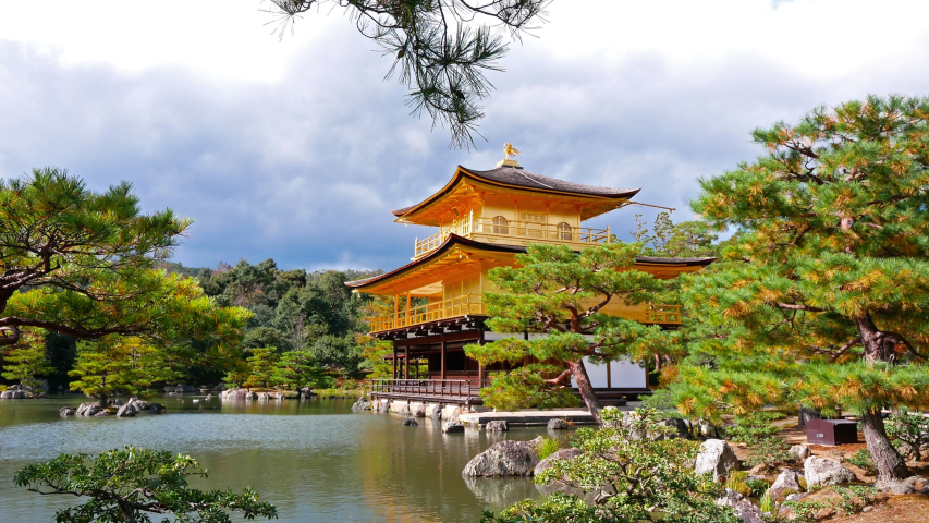 Colorful Autumn with Kinkakuji temple Golden pavilion in Kyoto, Japan.  | Shutterstock HD Video #1037314343