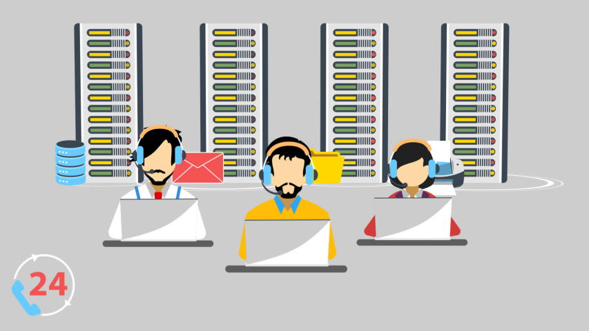 Employees at the call centers are taking calls to short out the problems of the customer. They are connecting with each other through servers shown in the background. | Shutterstock HD Video #1037418113