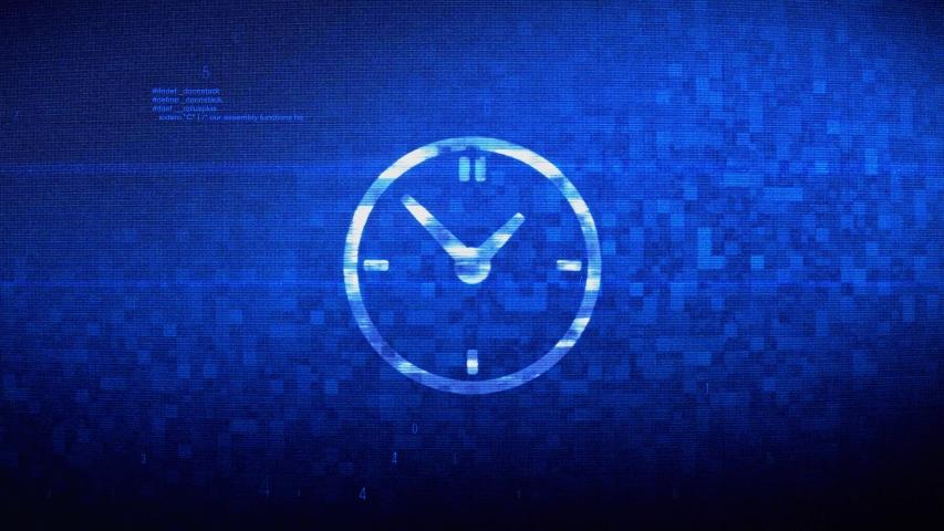 Clock Watch Symbol Abstract Digital Pixel Noise Glitch Error Video Damage Signal Loop 4K Animation. | Shutterstock HD Video #1037511833
