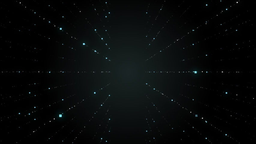 Travel through in space through gradually located dots and squares elements. | Shutterstock HD Video #1037548283