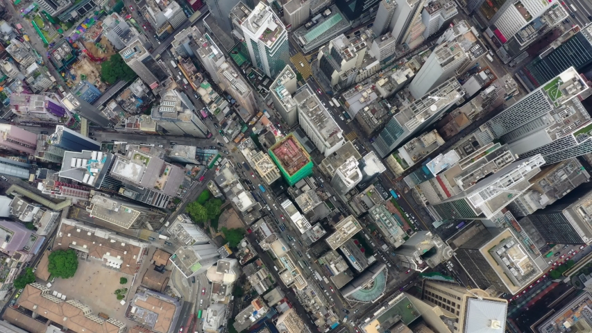 Central, Hong Kong 24 September 2019: Top view of Hong Kong downtown city #1037875943