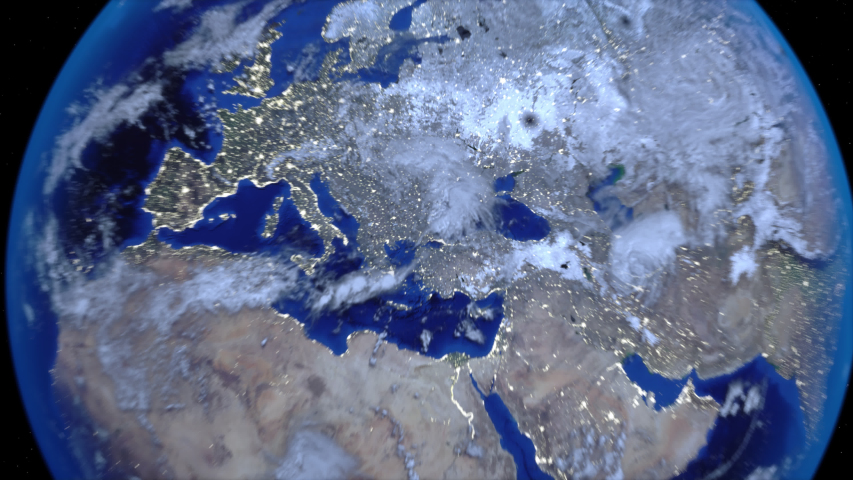 Zoom out of Turkey through clouds to see the Earth from space. | Shutterstock HD Video #1037953583