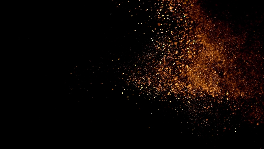 beautiful animation of multi-colored flying flickering particles scattered on a black background	  #1038031283