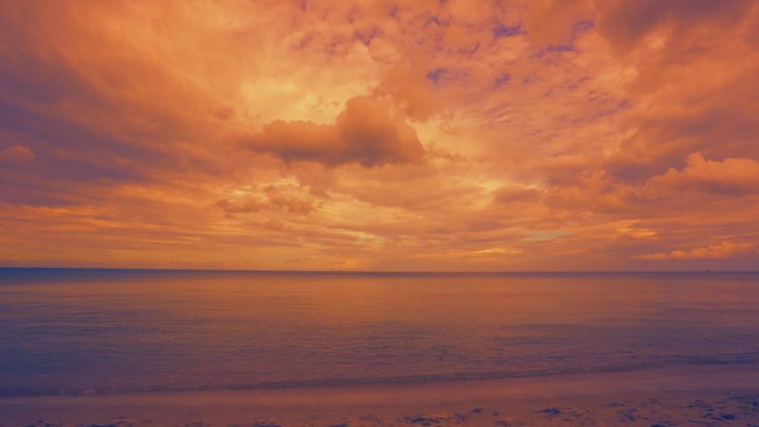 Beautiful Samui island, Thailand sea beach on golden sky and cloud sunset background, horizon between sea and sky, beach and sand on landscape, dark orange cloud and sky on seashore over sea island #1038107513