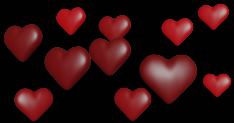3d animation. pattern of hanging rotating and moving red hearts.   Shutterstock HD Video #1038168383