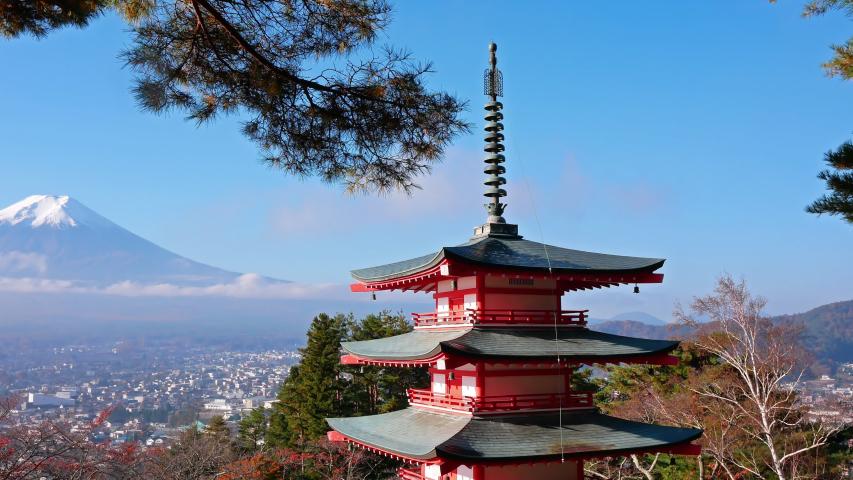 Colorful Autumn with Mountain Fuji and Chureito Pagoda in Japan around Lake Kawaguchiko  | Shutterstock HD Video #1038218363