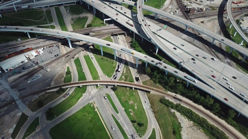 Busy Highway Intersection Bird Eye Aerial View. Dallas Texas USA Metropolitan Area, Fort Worth