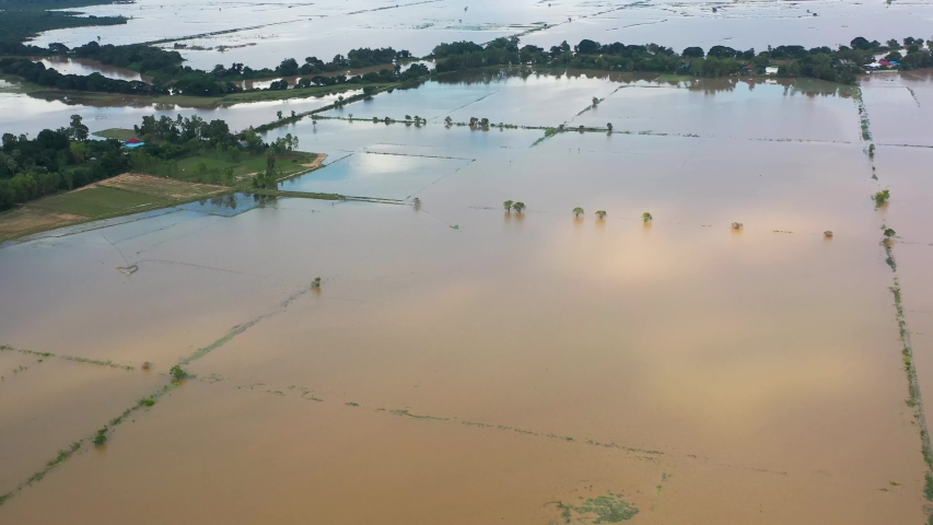 Aerial View of Rural Farm affected by Spring flooding featuring Farm house, silo on dry ground, livestock, green fields, brown flood water, covered roads | Shutterstock HD Video #1038728033