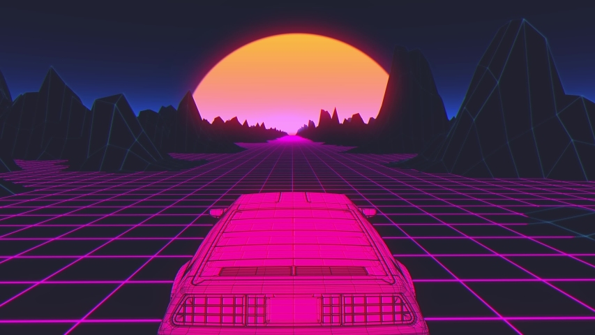 Retro-futuristic 80s style sci-Fi car background. Seamless loop 3D video animation | Shutterstock HD Video #1038754673