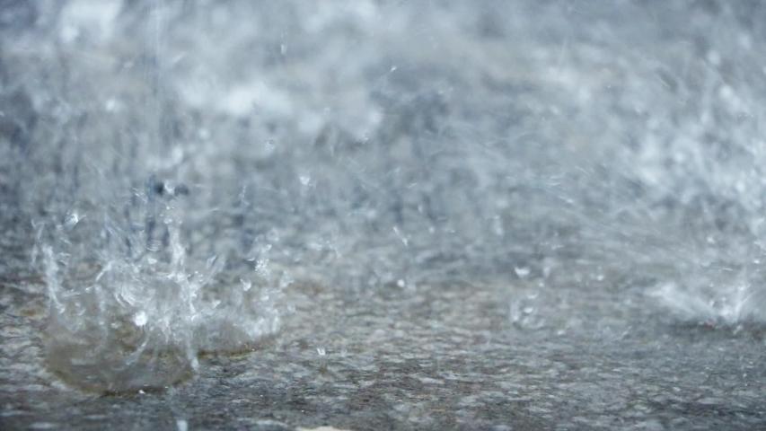 The Heavy rain drops on concrete floor | Shutterstock HD Video #1038793973