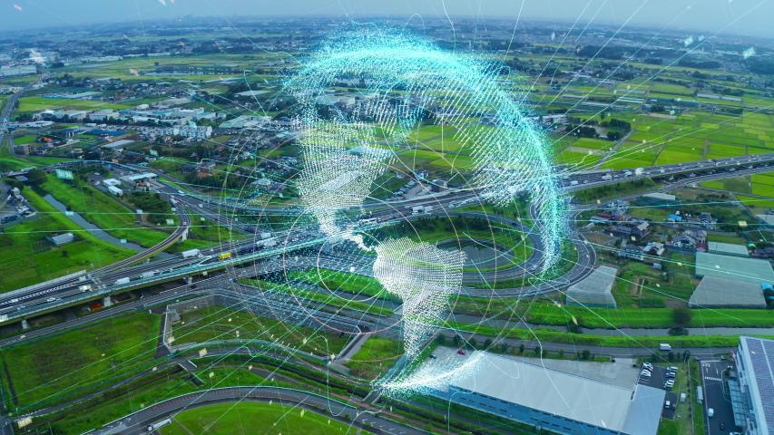 Transportation system concept. Communication network. Autonomous technology.    Shutterstock HD Video #1038831143