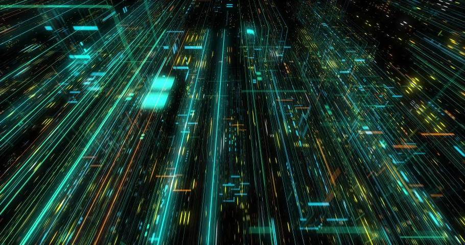 Seamless fly through of abstract circuitry with digital grid background, Data deep learning computer machine. AI artificial intelligence and ML machine learning concept. loop, 3D render | Shutterstock HD Video #1039053173