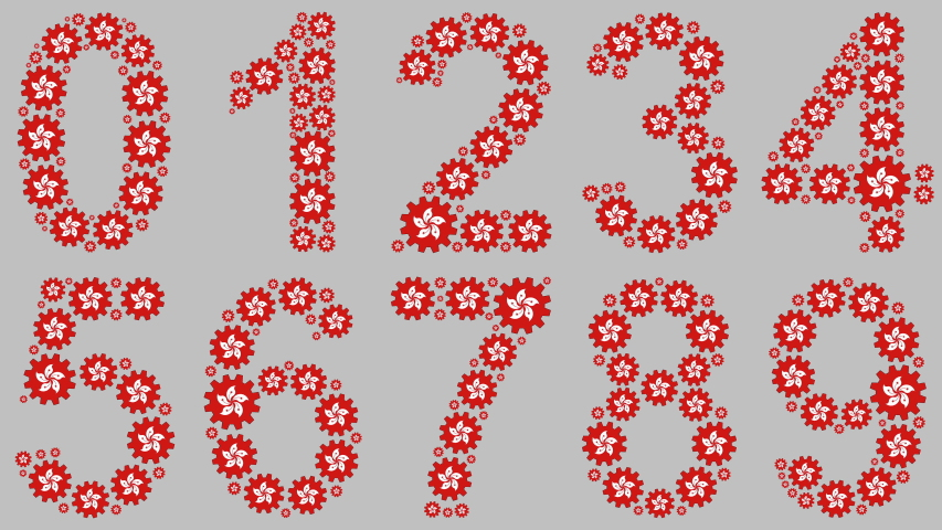 Turning gears with the hong kong flag shaping the numbers from 0 to 9 over gray background | Shutterstock HD Video #1039055243