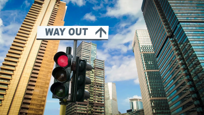Street Sign the Way Out of the Problems | Shutterstock HD Video #1039108643