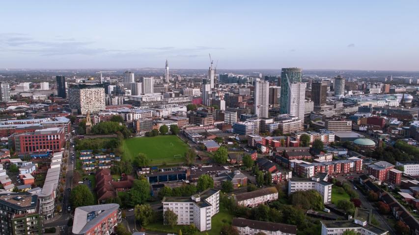 Establishing Aerial View of Birmingham, England, United Kingdom