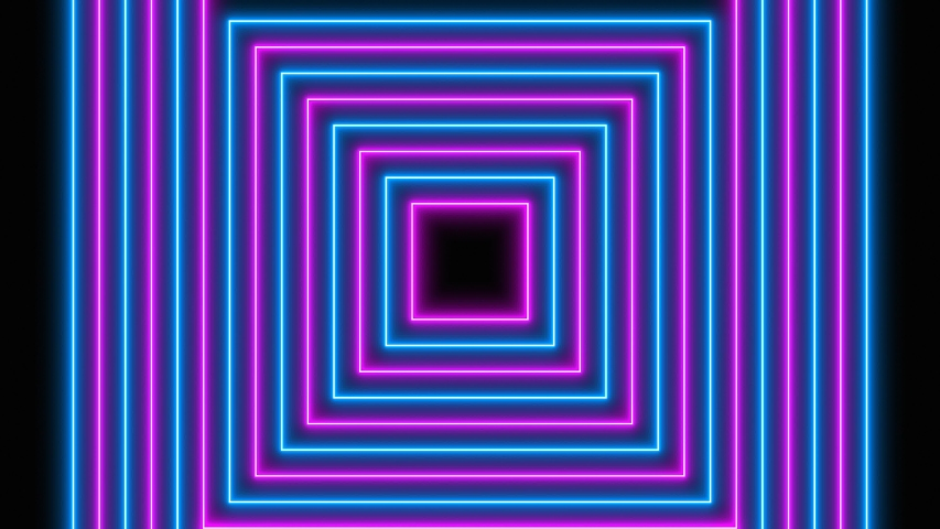 Neon Light Radial Concentric Square Shapes Flashing Pattern Loop.  Blue and pink colored bright lines on a black background. | Shutterstock HD Video #1039185503