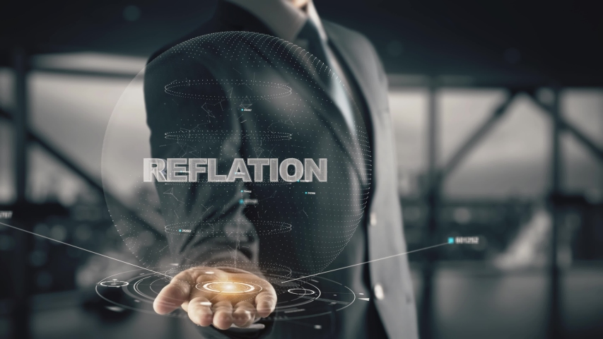 Reflation with hologram businessman concept | Shutterstock HD Video #1039211033
