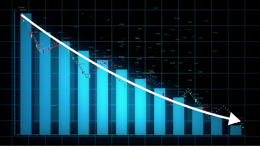 4k HUD graph,Bar graph fall down with arrow,Financial data and diagrams showing a decline in profits,charts and flowing counters of numbers,Business digital trend.  | Shutterstock HD Video #1039218803
