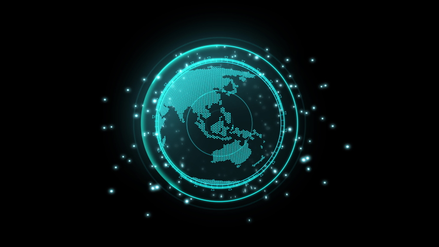3D style Dot earth map rotation with searching symbol, with neon light and bokeh concept for sci-fi technology ,Use transparent effect for layer , Uhd footage | Shutterstock HD Video #1039398923