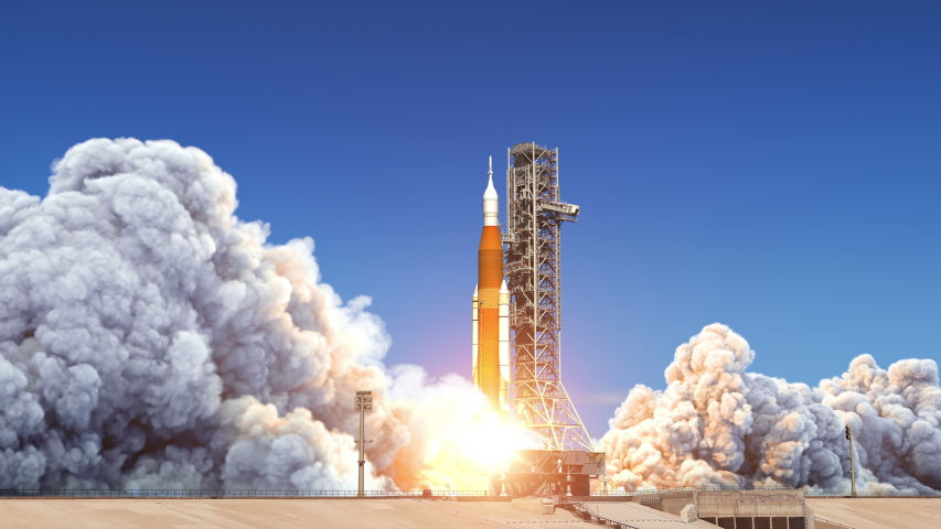 Big Heavy Rocket (Space Launch System) Launch. Slow Motion. Full 3D Animation. 4K. Ultra High Definition. 3840x2160.