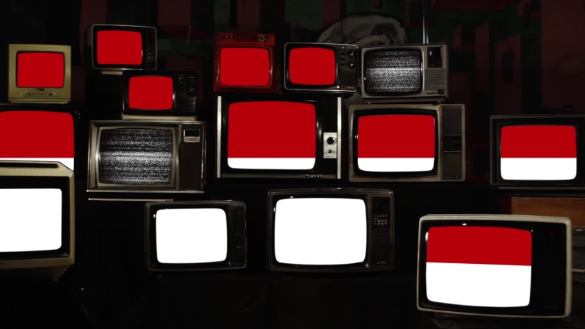 Flag of Indonesia and Retro TVs. Zoom In.  | Shutterstock HD Video #1039667333