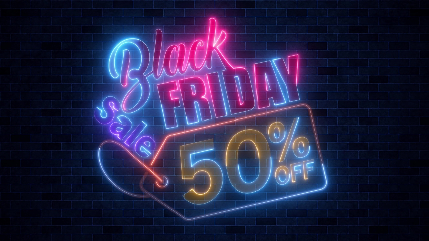 Black Friday 50 Percent Off Sale Colorful Neon Glow Bright Light Animation With Dark Brick Tiles Wall Texture Background | Shutterstock HD Video #1039751993