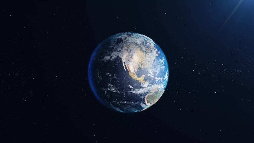 Planet earth from space. Planet earth rotating animation. Clip contains space, planet, galaxy, stars, cosmos, sea, earth, sunset, globe, blue color. 4k .  | Shutterstock HD Video #1040026373