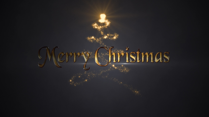Merry Christmas in Gold Reveal Particle Tree 4K Loop features particles across the screen revealing a Merry Christmas message with a particle tree animating on in the background in a loop. | Shutterstock HD Video #1040064473