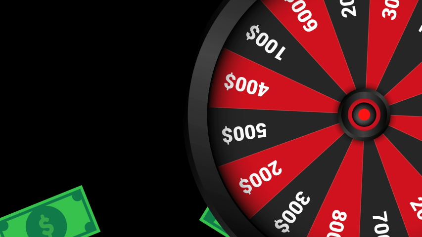 Realistic spinning fortune wheel animation,Dollar bills falling on background. Casino online, lucky roulette.4k video.