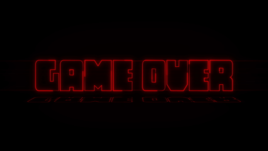 Game over text neon wiggle and reflection on black background. | Shutterstock HD Video #1040527733
