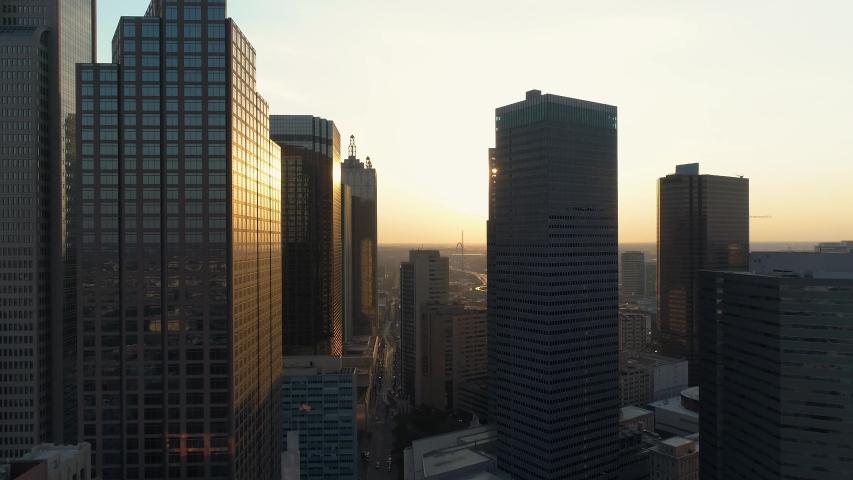 4K Dallas Skyline Daytime Drone Aerial Downtown Dallas Skyline at Sunset