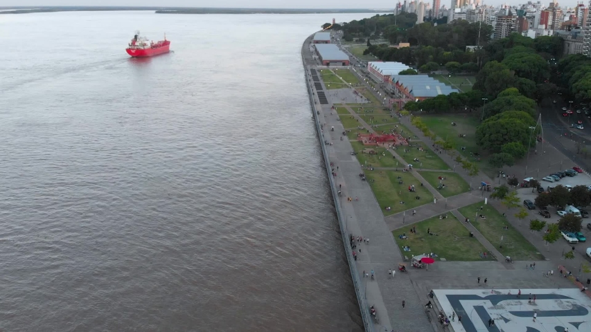 Tanker, Barge, Parana River (Rosario, Argentina) aerial view, drone footage | Shutterstock HD Video #1040558453
