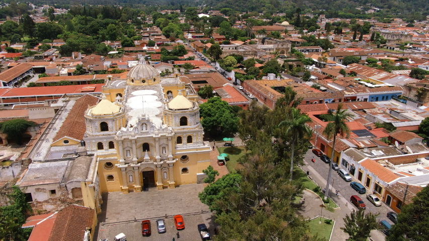 Ancient Old Antigua Guatemala city aerial drone view. Antigua Guatemala, old Guatemala. Referred to as just Antigua or la Antigua, is a city in the central highlands of Guatemala.
