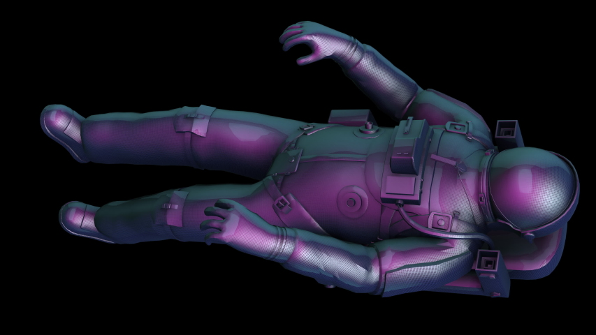 Astronaut floats in space-Violet texture- 3D animation on a black background | Shutterstock HD Video #1040674553