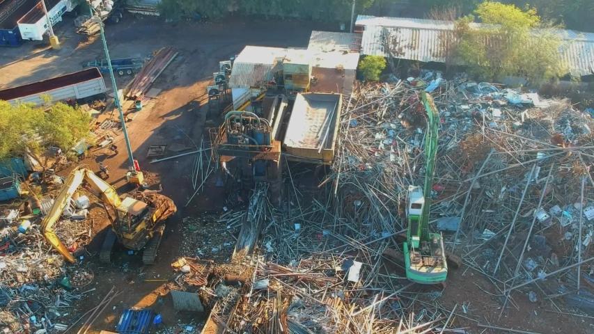 Steel junk yard recycle process | Shutterstock HD Video #1040684363
