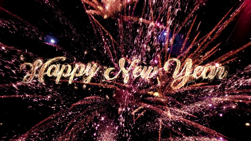 Happy New Year 2020 Text with glitter and sparks isolated on black background, New Year Celebration magic background with beautiful typography.  2020 New Year Sign with fireworks best for Celebration  | Shutterstock HD Video #1040707163