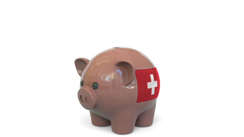 Putting money into piggy bank with flag of Switzerland. Tax system system or savings related conceptual 3D animation   Shutterstock HD Video #1040731583