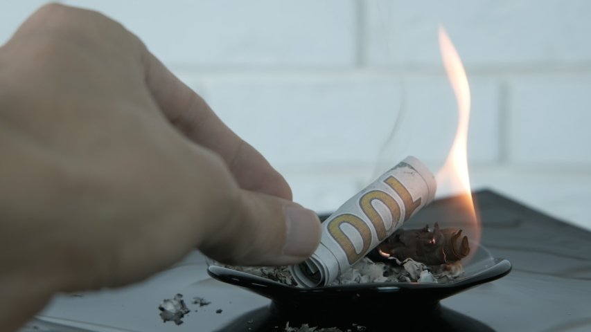 Burning budget. A man put dollars in the fire on the black plate with ashes from the money. | Shutterstock HD Video #1040774813