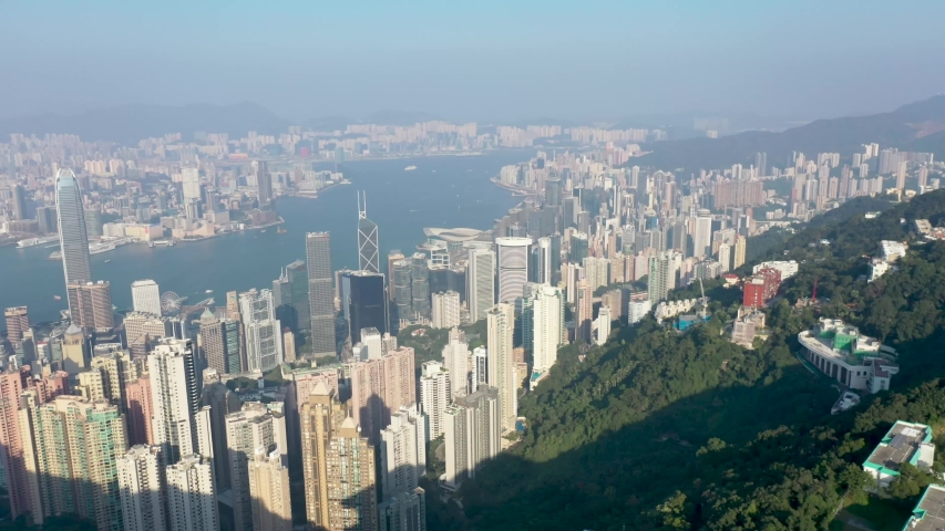 09 Oct 2019, View from Victoria Peak, a mountain in the western half of Hong Kong Island   Shutterstock HD Video #1040821223