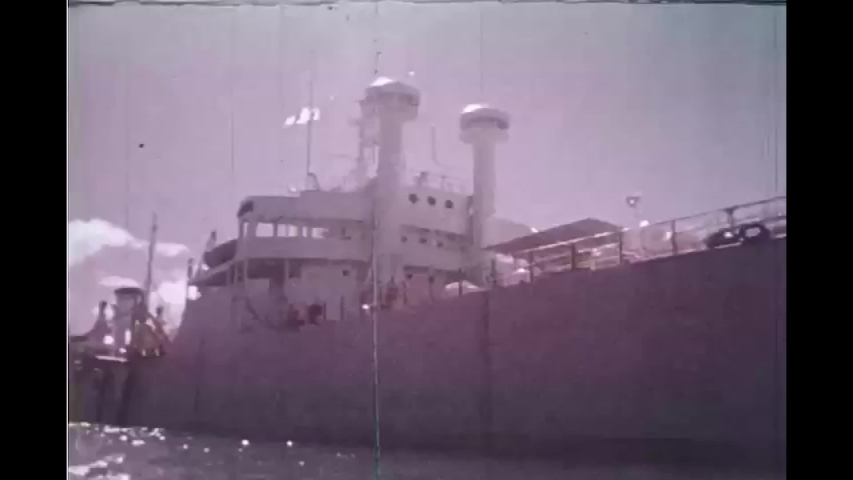 CIRCA 1980s - An oil tanker is refitted as an ocean energy converter in the 1980s | Shutterstock HD Video #1040855333
